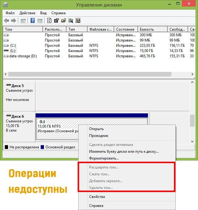 Операции недоступны в Disk Management