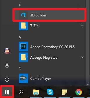 3D билдер в меню Пуск