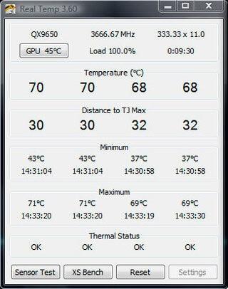 Программа для замера температуры процессора Real Temp