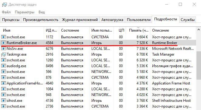Процесс RuntimeBroker