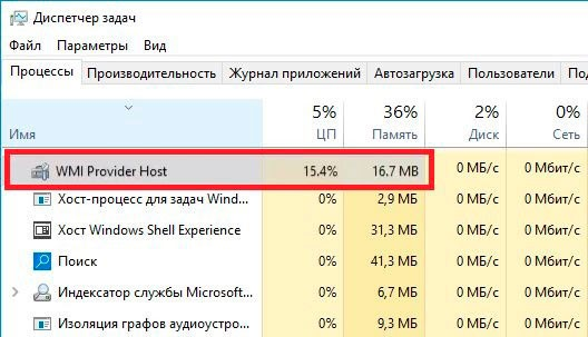 WMI Provider Host в списке процессов