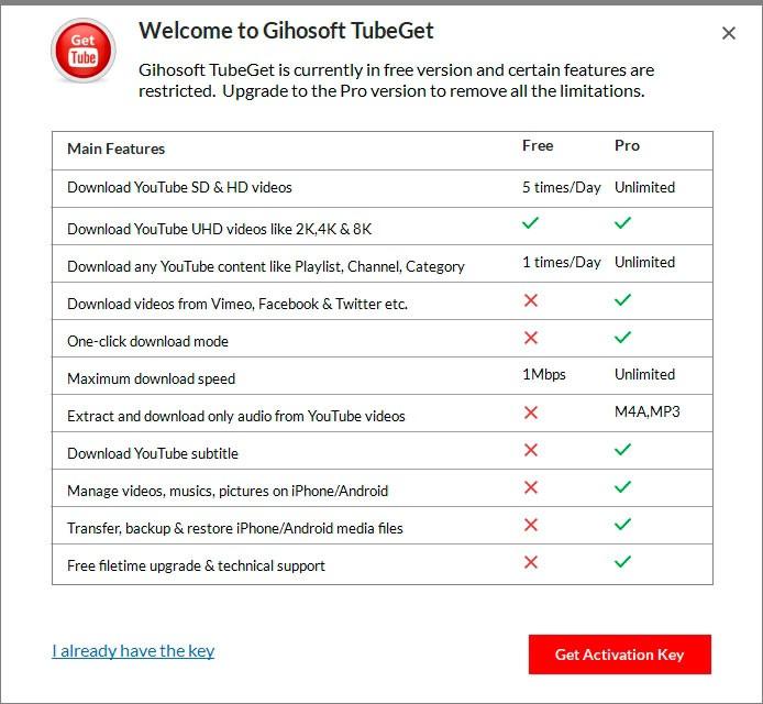 Сравнение Free и Pro версий TubeGet
