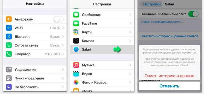 Чистка кеша на iPhone в Safari