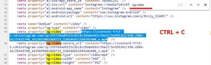 Ссылка на mp4 в коде страницы