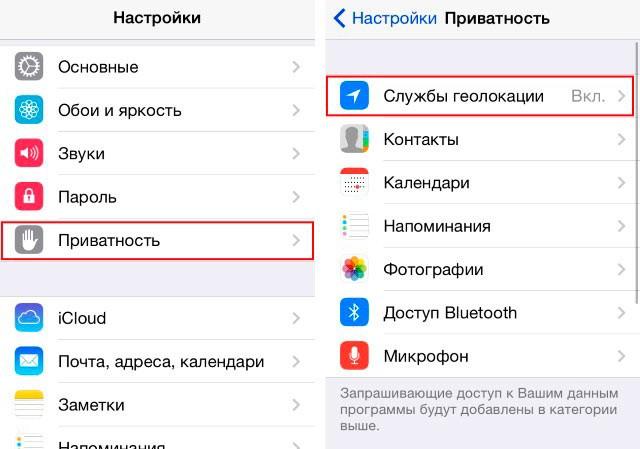 параметры приватности iphone