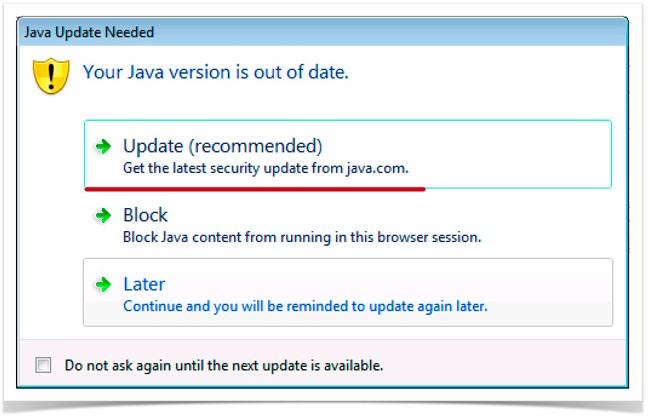 уведомление о необходимости обновить Java