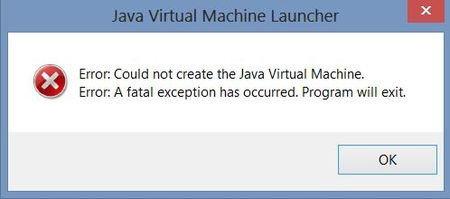 Окно ошибки java virtual machine error