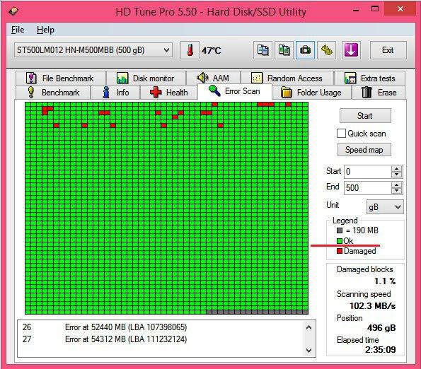Окно сканирования HD Tune