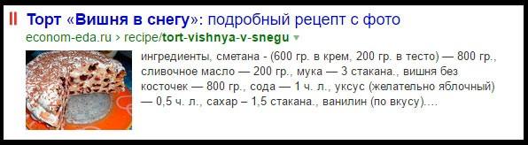 Представление рецептов в выдаче Яндекс