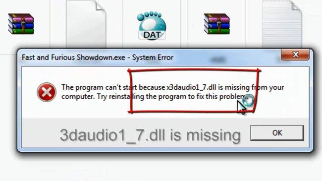 сообщение о недостающем x3daudio1_7.dll