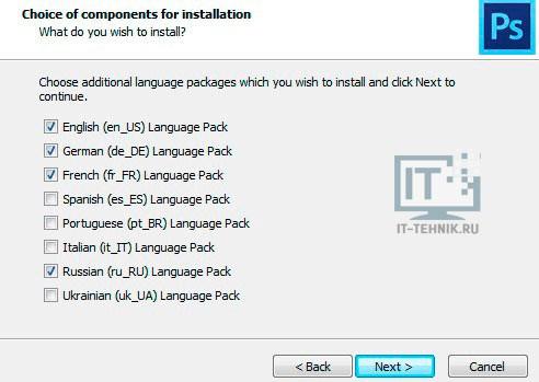 Мастер установки языков в Фотошоп CS6