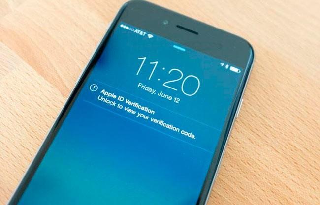 Двуфакторная авторизация на экране Айфона