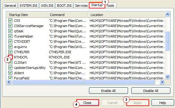 Вкладка автозагрузки msconfig