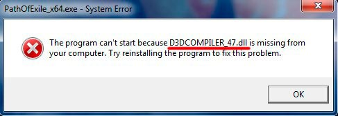D3DCOMPILER_47 is missing