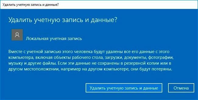 Все данные пользователя будут удалены