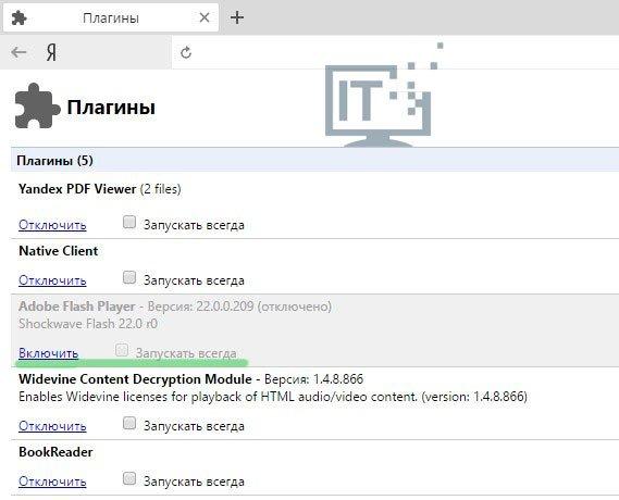 страница плагинов Яндекса
