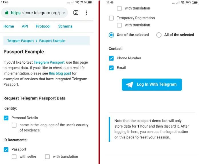 страница добавления документов telegram passport