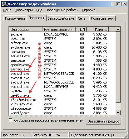 Окно диспетчера задач с очень подозрительными именами процессов
