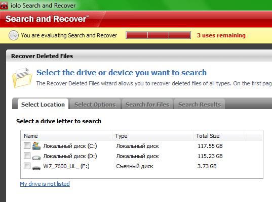 Указываем нужный накопитель в Search and Recover