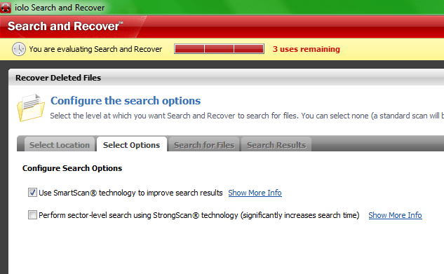 Выбираем режим проверки Search and Recover