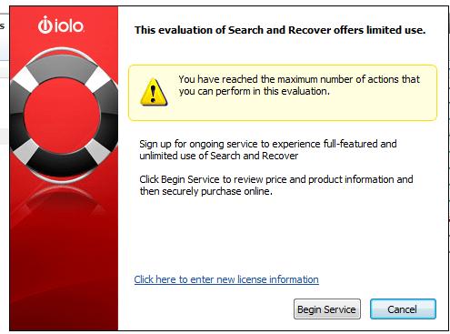 Программа Search and Recover имеет ограничения