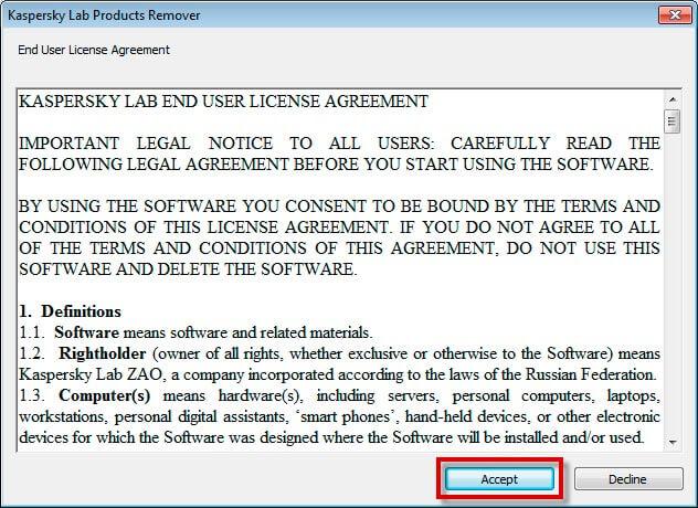 Лицензионное соглашение утилиты удаления Kaspersky