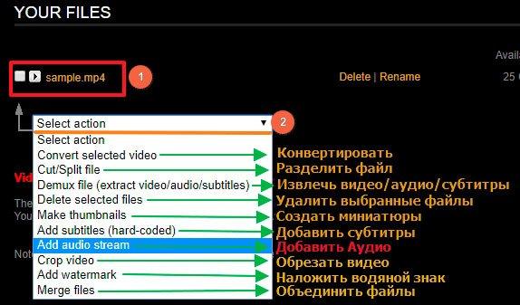 Список действий на VideoToolbox