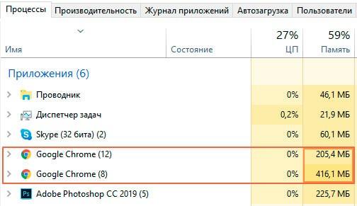 разные версии Google Chrome в диспетчере задач