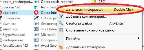 Контекстное меню процесса в AnVir Task Manager