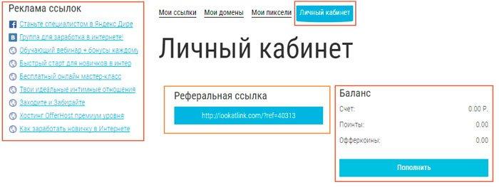 Личный кабинет пользователя look at link.com