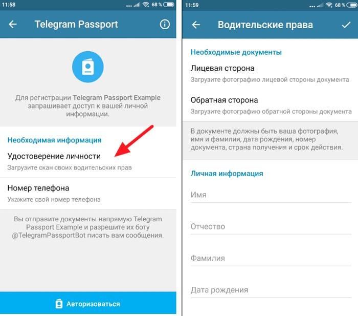 Внесение документов в телеграм паспорт
