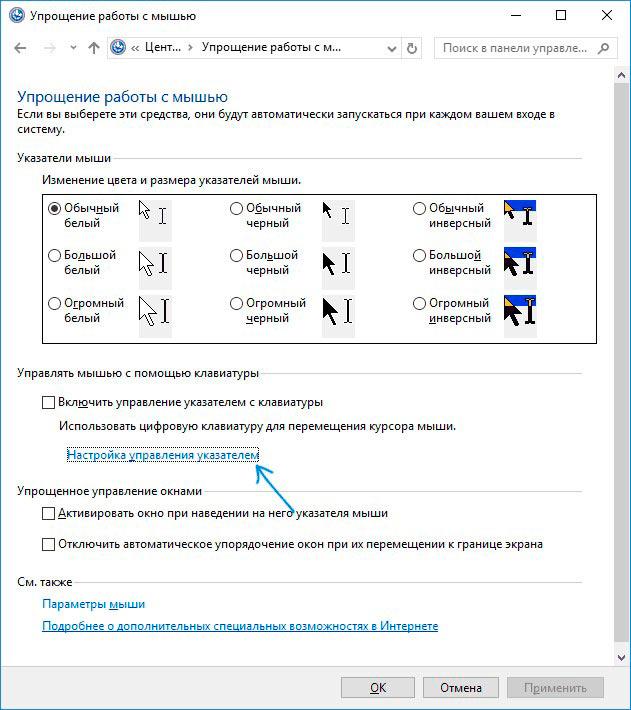 Ссылка на параметры работы с курсором
