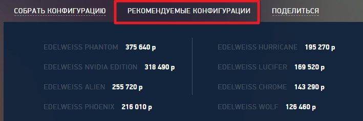 Оптимальные сборки ПК на Эдельвейс