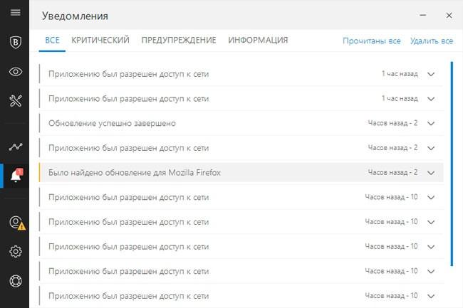 Уведомления в Битдефендер Интернет секьюрити