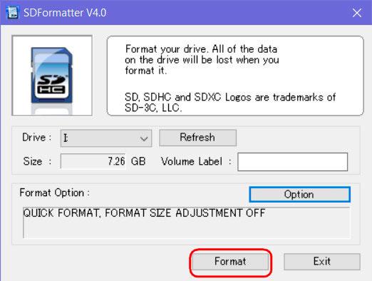 Окно утилиты SD Formatter
