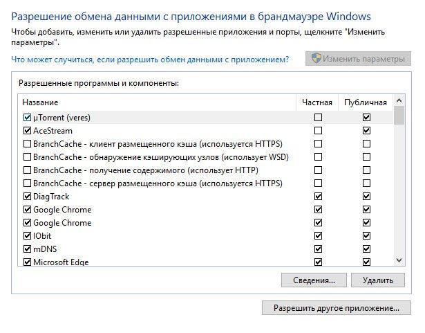 Окно настройки разрешений для программ