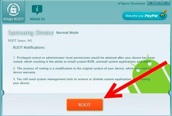 Кнопка установки root в Kingoroot