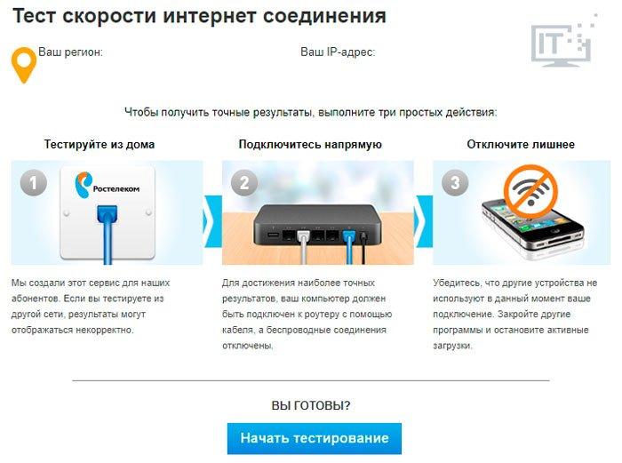 Сервис Ростелеком для проверки скорости интернета