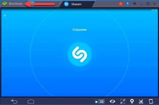 Shazam online в Bluestacks