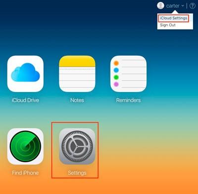 ссылка на параметры iCloud