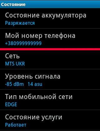 Телефонный № в настройках Android