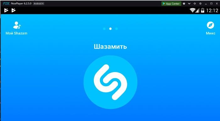 Интерфейс Шазама в Nox player