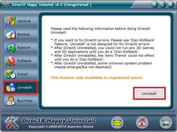 Кнопка удаления директ икс в Happy Uninstall