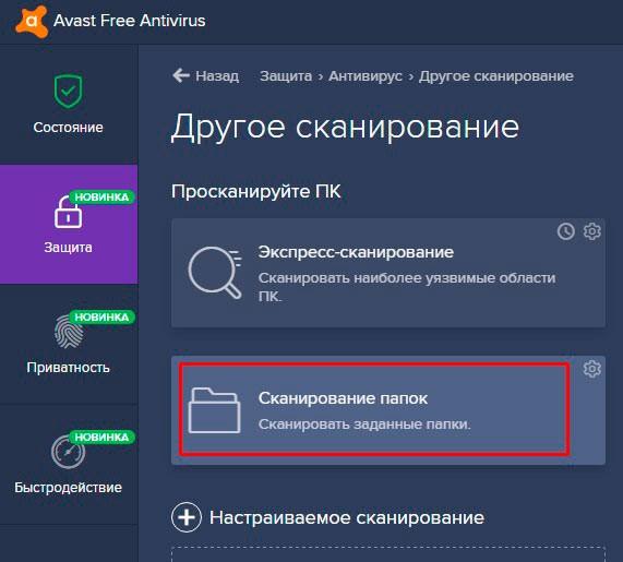 Проверка каталогов в Avast
