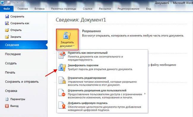 Инструкция по шифрованию файла Ворд 2010