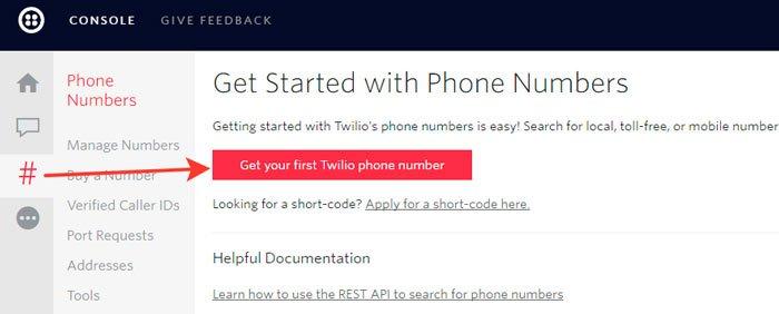 Кнопка для получения виртуального номера Twilio