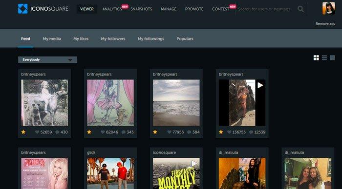 Сайт Iconosquare