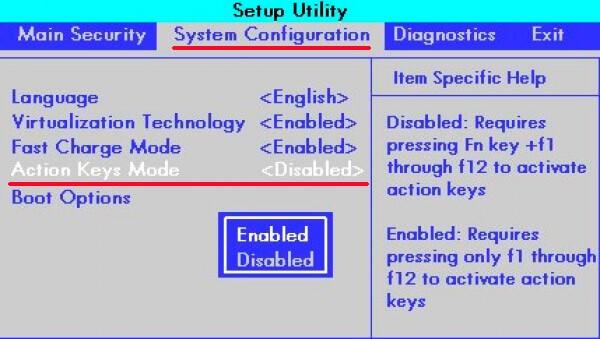 Action Keys Mode в BIOS