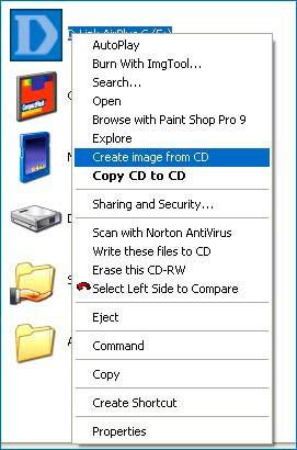 Контекстное меню ISO recorder