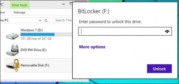 Ввод пароля в Bitlocker на Windows 10